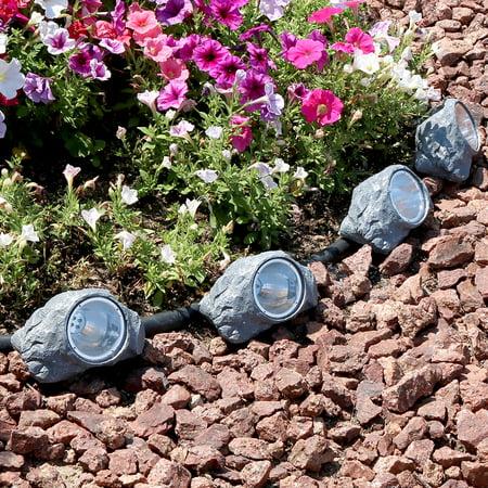 Sunnydaze Outdoor Solar Powered Garden Lights, Decorative LED Landscape Pathway Spotlight, Set of 4 ()