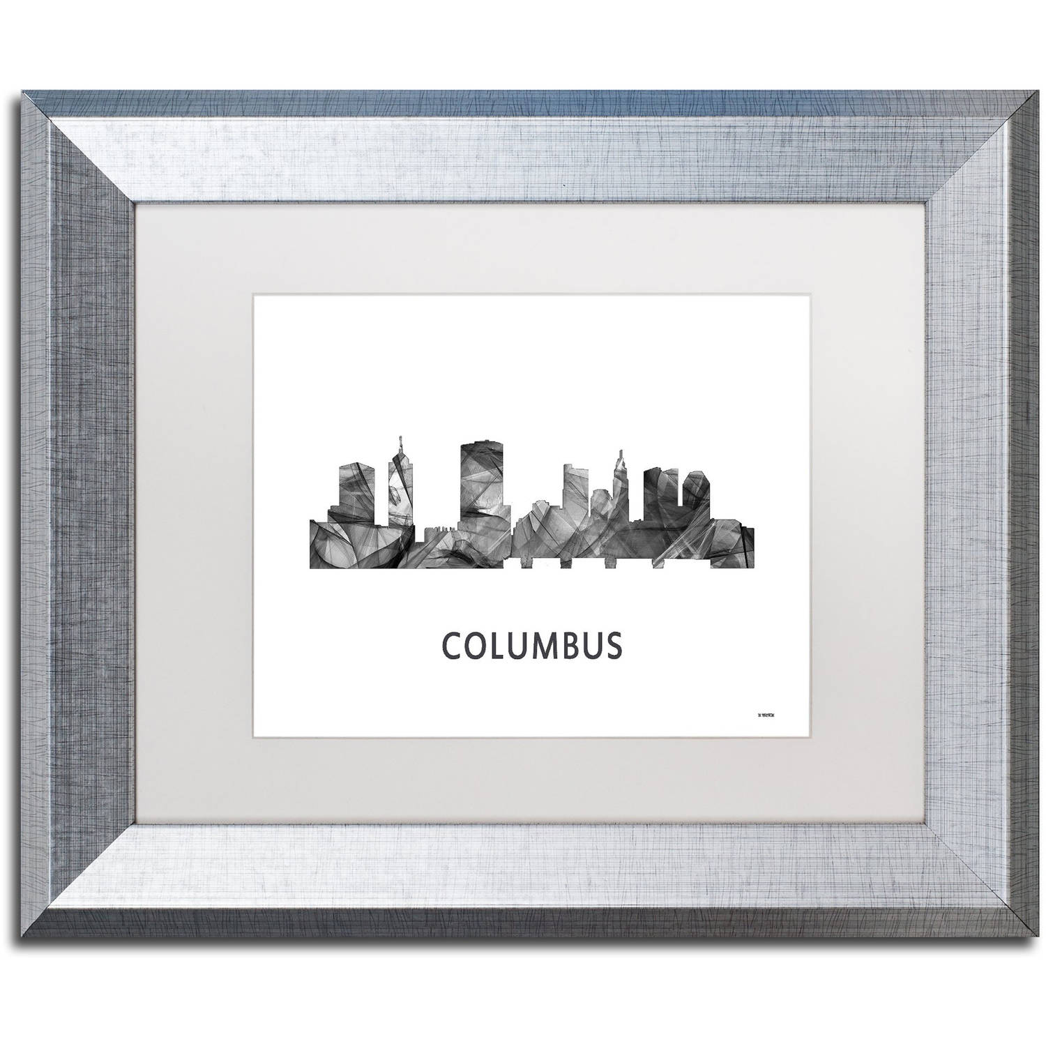 Trademark Fine Art 'Columbus Ohio Skyline WB-BW' Canvas Art by Marlene Watson, White Matte, Silver Frame