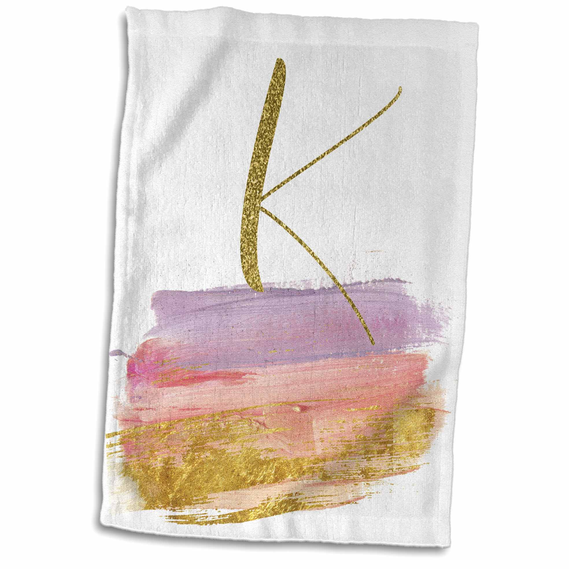 3dRose Modern Purple, Pink, Gold, Brush Strokes Monogram K - Towel, 15 by 22-inch