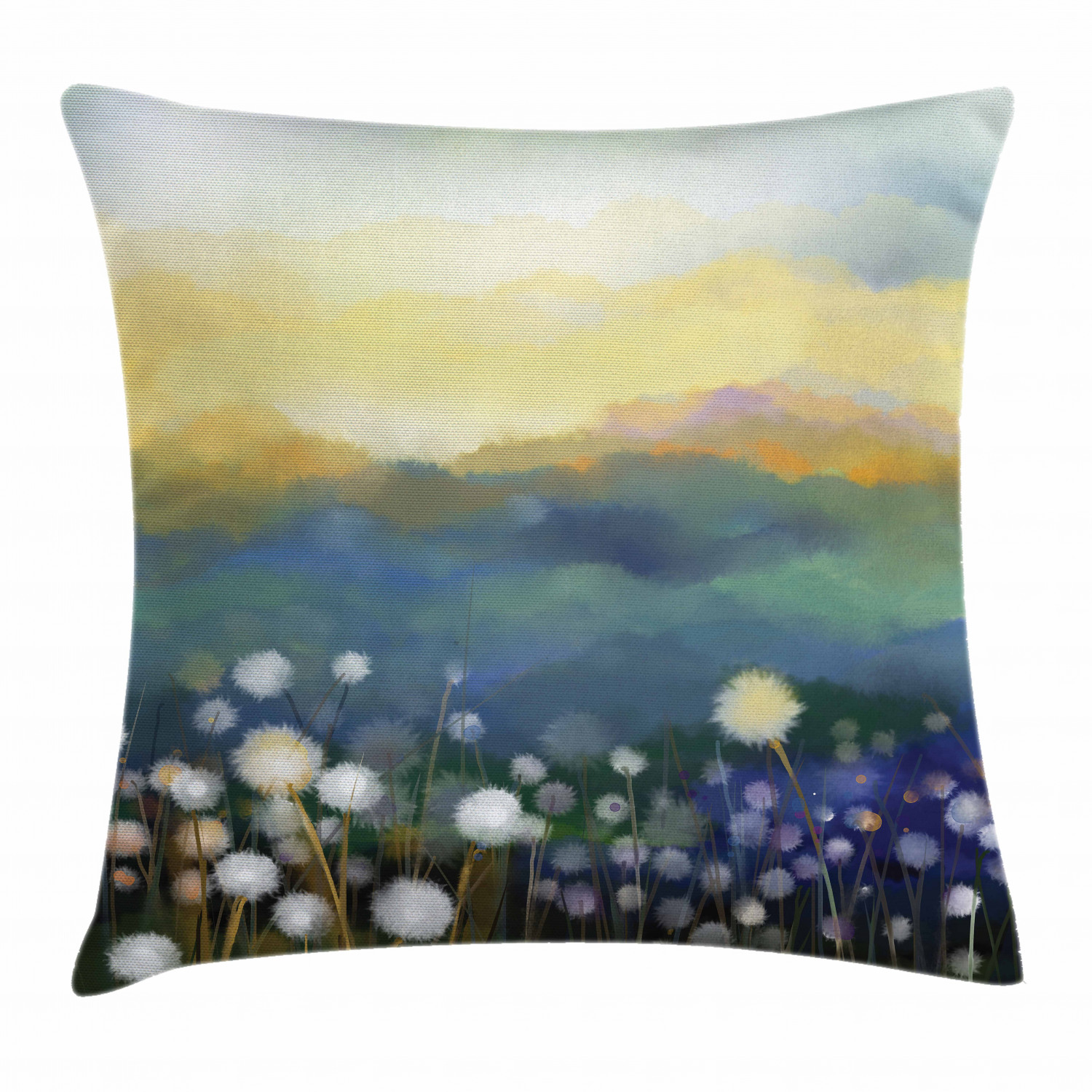 Dandelion Throw Pillow Cushion Cover Oil Painting Effect Floral Scene And Mountains Flowers In Meadows Spring Theme Decorative Square Accent Pillow Case 20 X 20 Inches Multicolor By Ambesonne Walmart Com Walmart Com