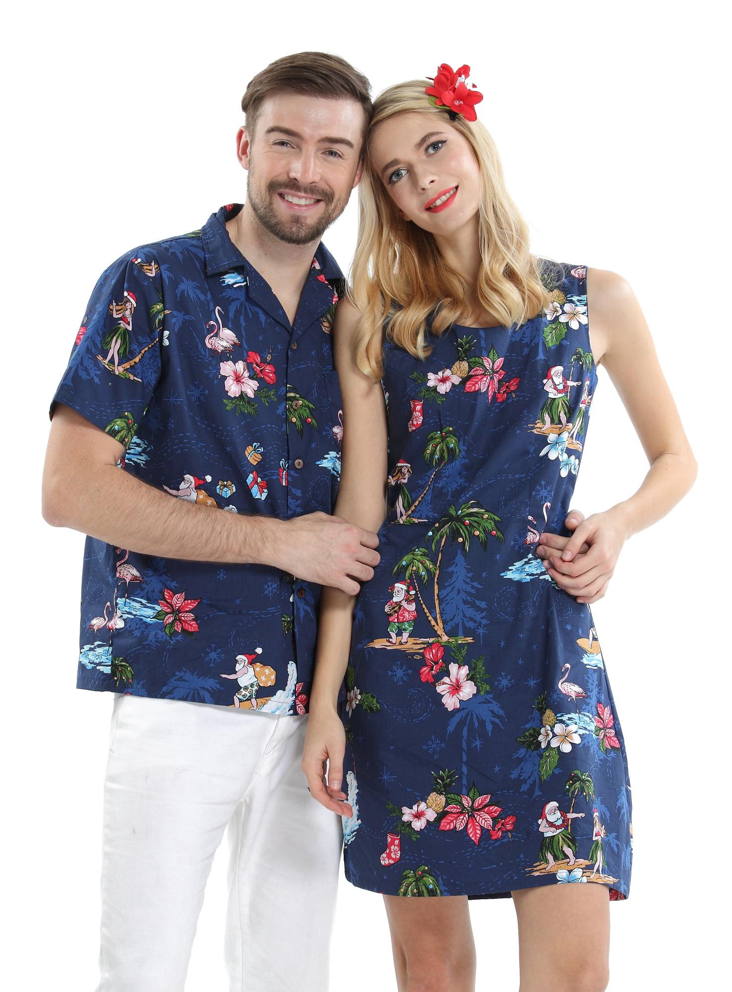 Christmas Hawaiian Shirt Womens.Couple Matching Hawaiian Luau Cruise Christmas Outfit Shirt Dress Santa Navy Men M Women L