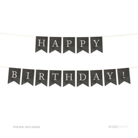 Happy Birthday! Vintage Chalkboard Pennant Party - Birthday Board