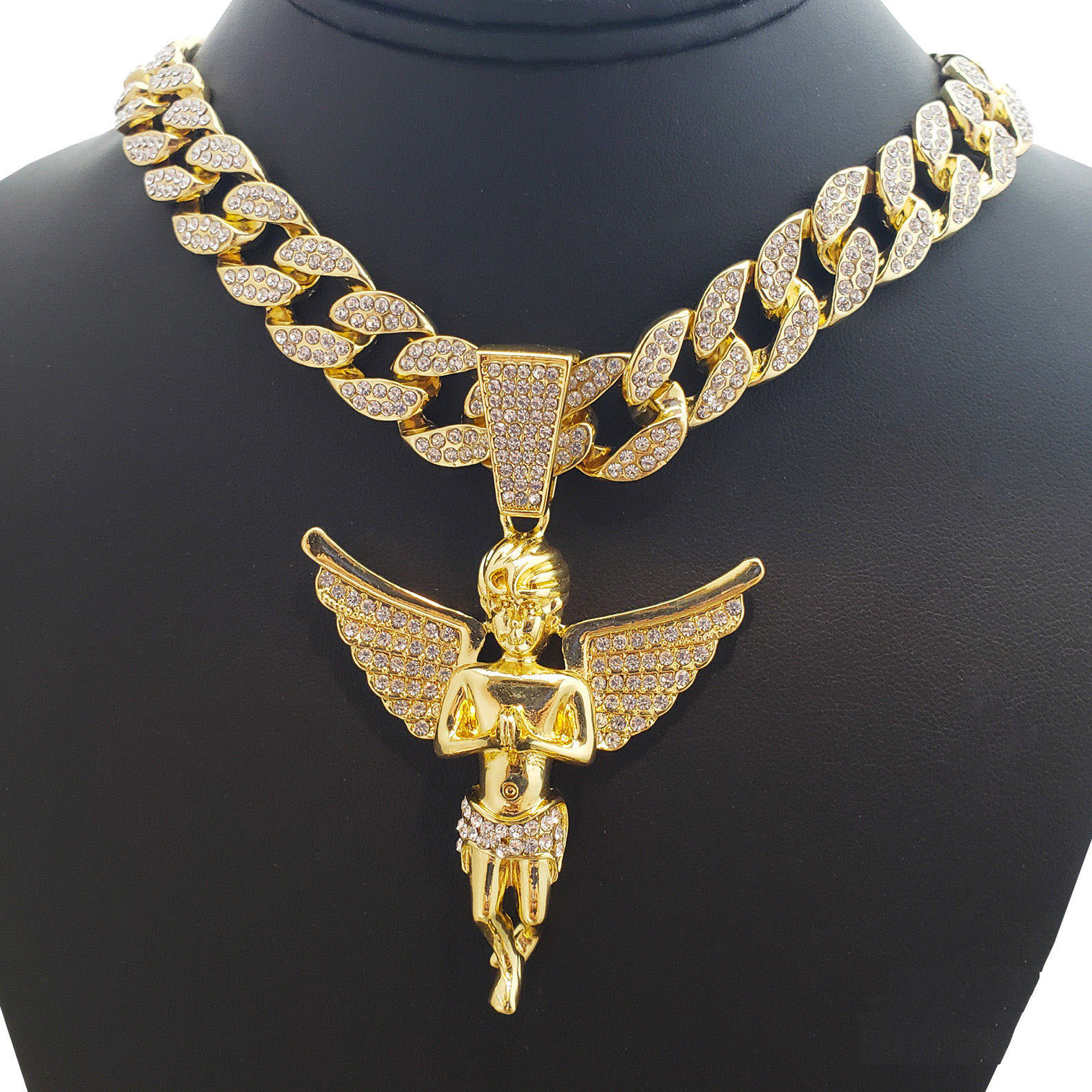 "Hip Hop Bling 14K Gold Tone Plated Baby Angel Pendant and 18"" Full Iced Cuban Choker Chain Set"