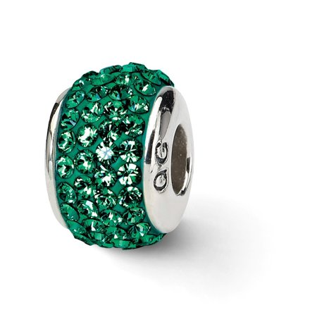 (ICE CARATS 925 Sterling Silver Charm For Bracelet Medium Green Full Swarovski Crystal Bead Collegiate College Stone Fine Jewelry Ideal Gifts For Women Gift Set From Heart)
