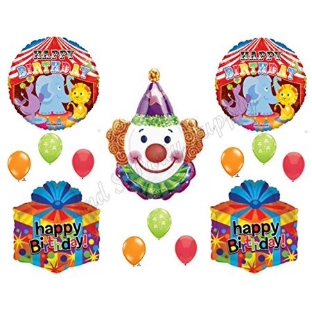 CIRCUS CLOWN Happy Birthday Balloons Decoration Supplies Party 1st 2nd Elephant by Anagram - Vintage Circus Party Supplies