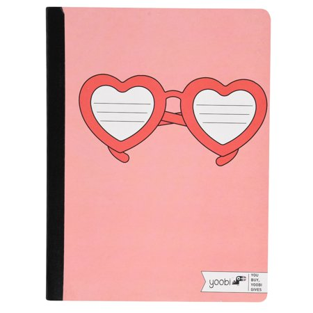 Yoobi, Composition Book, College Ruled - Coral Heart (College Sunglasses)