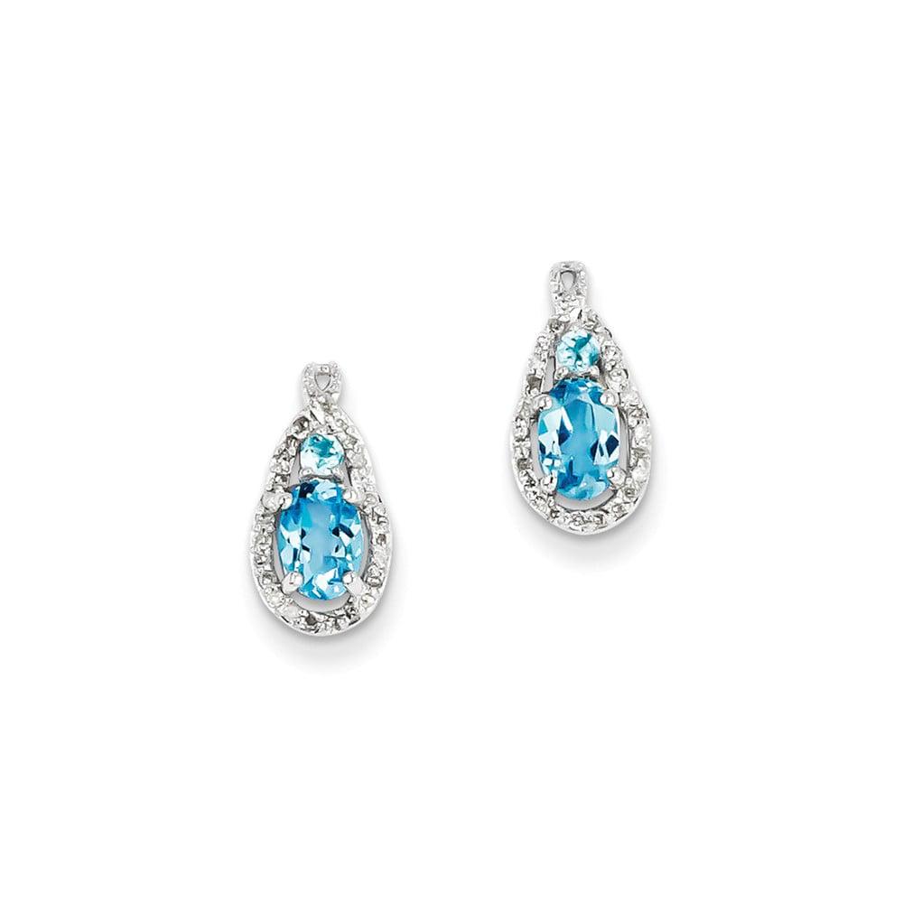 Sterling Silver 0.5IN Long Diamond & Light Swiss Blue Topaz Post Earrings