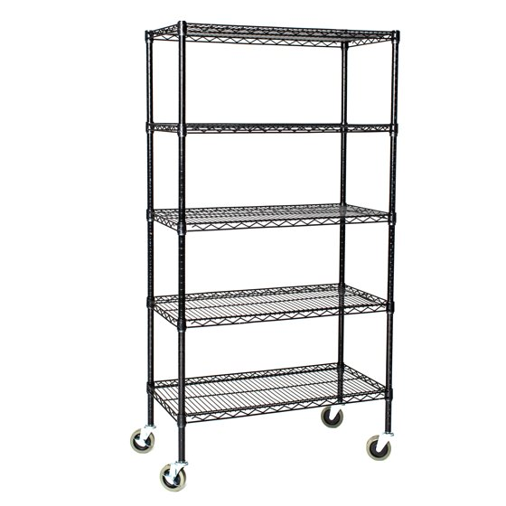 18 deep x 72 wide x 60 high 5 tier black wire shelf truck with 800 lb capacity. Black Bedroom Furniture Sets. Home Design Ideas