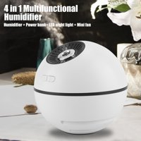 HHERCHR Humidifier, 300ml/10oz Humidifier Cool Mist Warm Air USB Rechargeable Steam Humidifier LED Night Light/Mini Fan/Mobile Power Multifunctional Home Office Diffuser for Baby Kid Bedroom, White