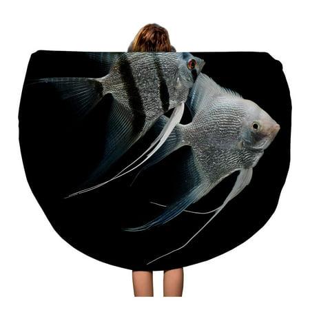 SIDONKU 60 inch Round Beach Towel Blanket Silver Angelfish Angel Fish Freshwater Aquarium Black Scalar Travel Circle Circular Towels Mat Tapestry Beach