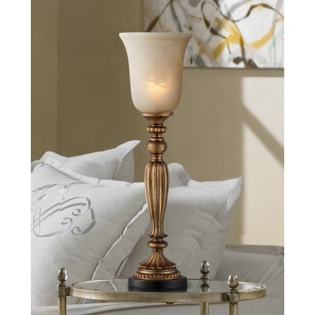 Regency Hill Traditional Uplight Table Lamp Florentine Bronze Fluted Column Alabaster Glass Shade for Living Room Family Bedroom