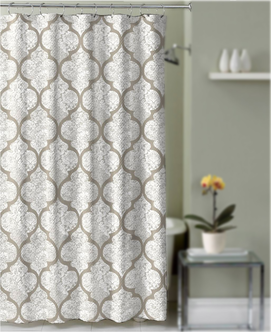 Shower Curtain Taupe and Gray Quatrefoil Damask Decorative Fabric ...
