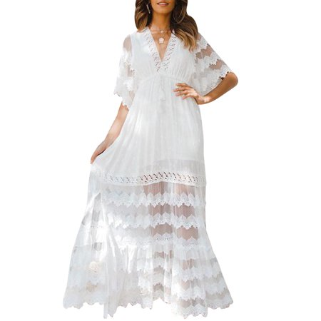 e331e2c8014e8 DYMADE - DYMADE Women's V-Neck Short Sleeve Empire Waist Lace Long Dress  Maxi Dress - Walmart.com