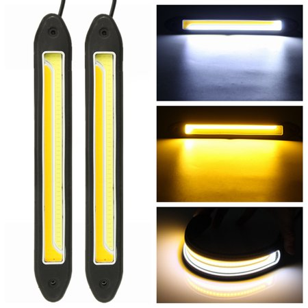 Fog Park Turn Signal Light (12V 6W COB LED DRL Daytime Running Fog Driving Turn Signal Indicator Light White Yellow Waterproof Universal Car Vehicle SUV Van US)