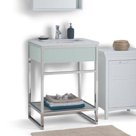 Brooklyn max ewen 24 inch bath vanity in chrome with white engineered marble top for Bathroom vanities brooklyn mcdonald avenue
