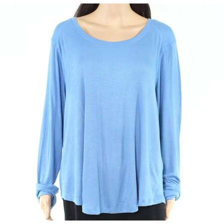 Women's Sweater Chambray Plus Boat Neck Ribbed Knit 1X Open Knit Boat Neck