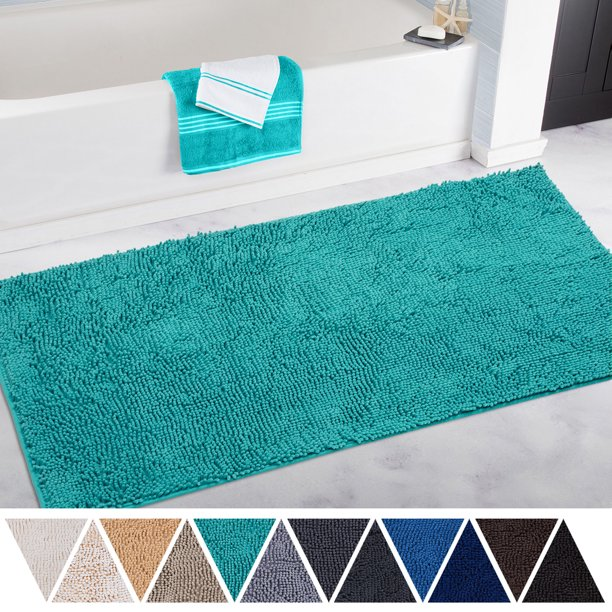 Deartown Non Slip Thick Microfiber Bathroom Rugs Machine Washable Bath Mats With Water Absorbent 27 5x47 Inches Turquoise Walmart Com Walmart Com