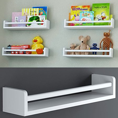 1 White Baby Nursery Room Wall Shelf Wood 17.5 Inch Ships Fully Assembled by Brightmaison