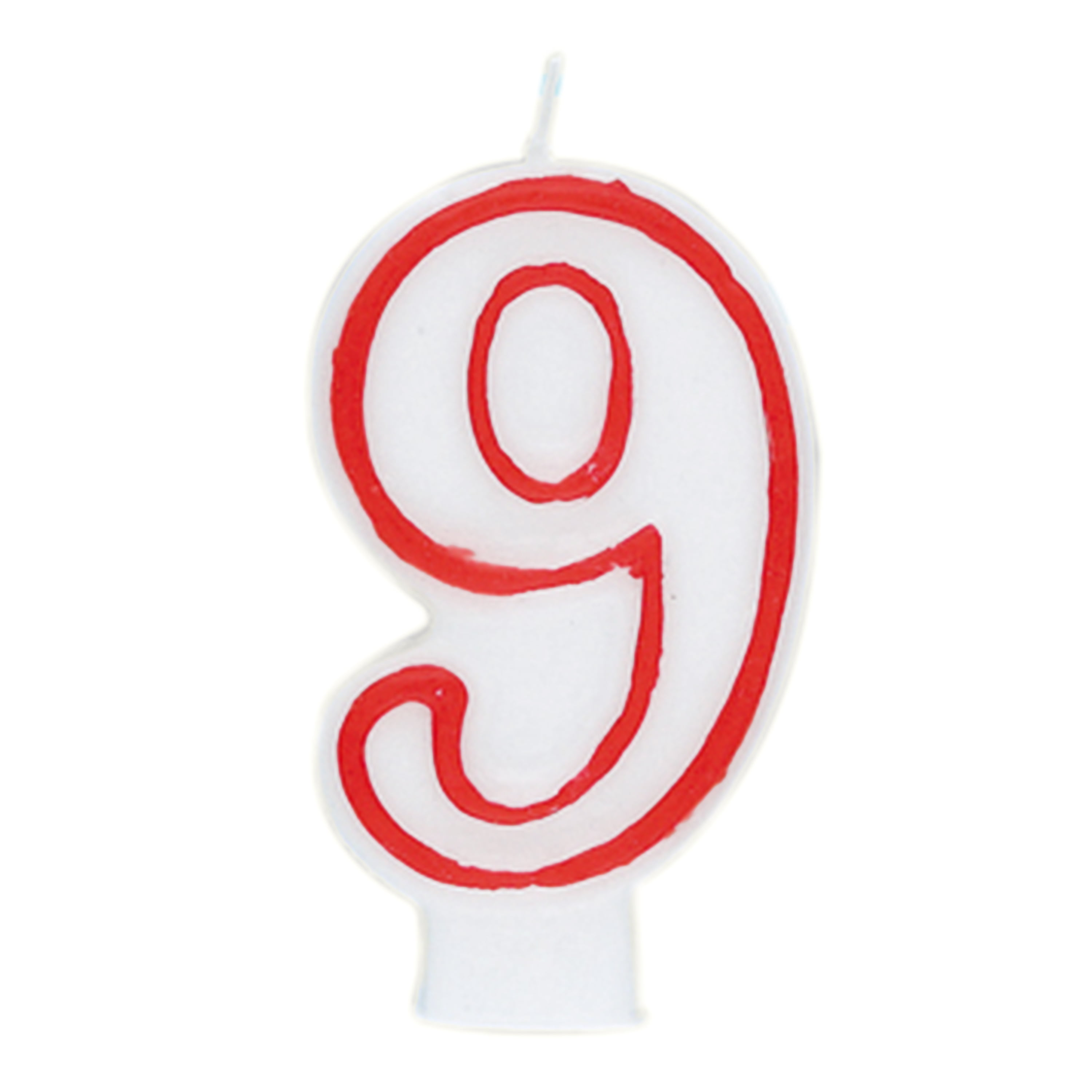 Number 9 Birthday Candle 275 In Red And White 1ct