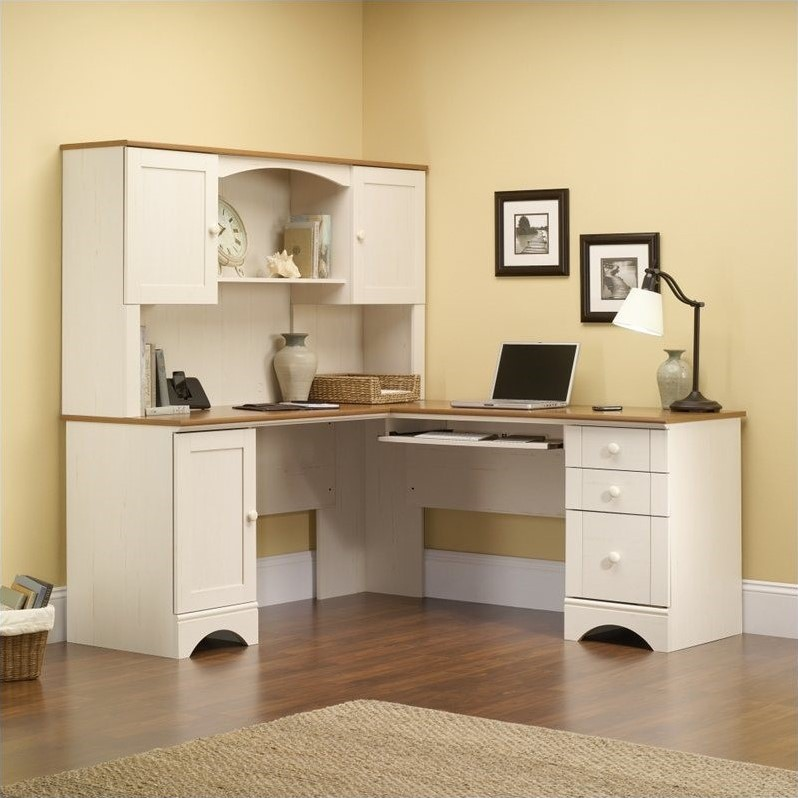 with sauder hutch simple shaped image l furniture of decorate desk thedigitalhandshake