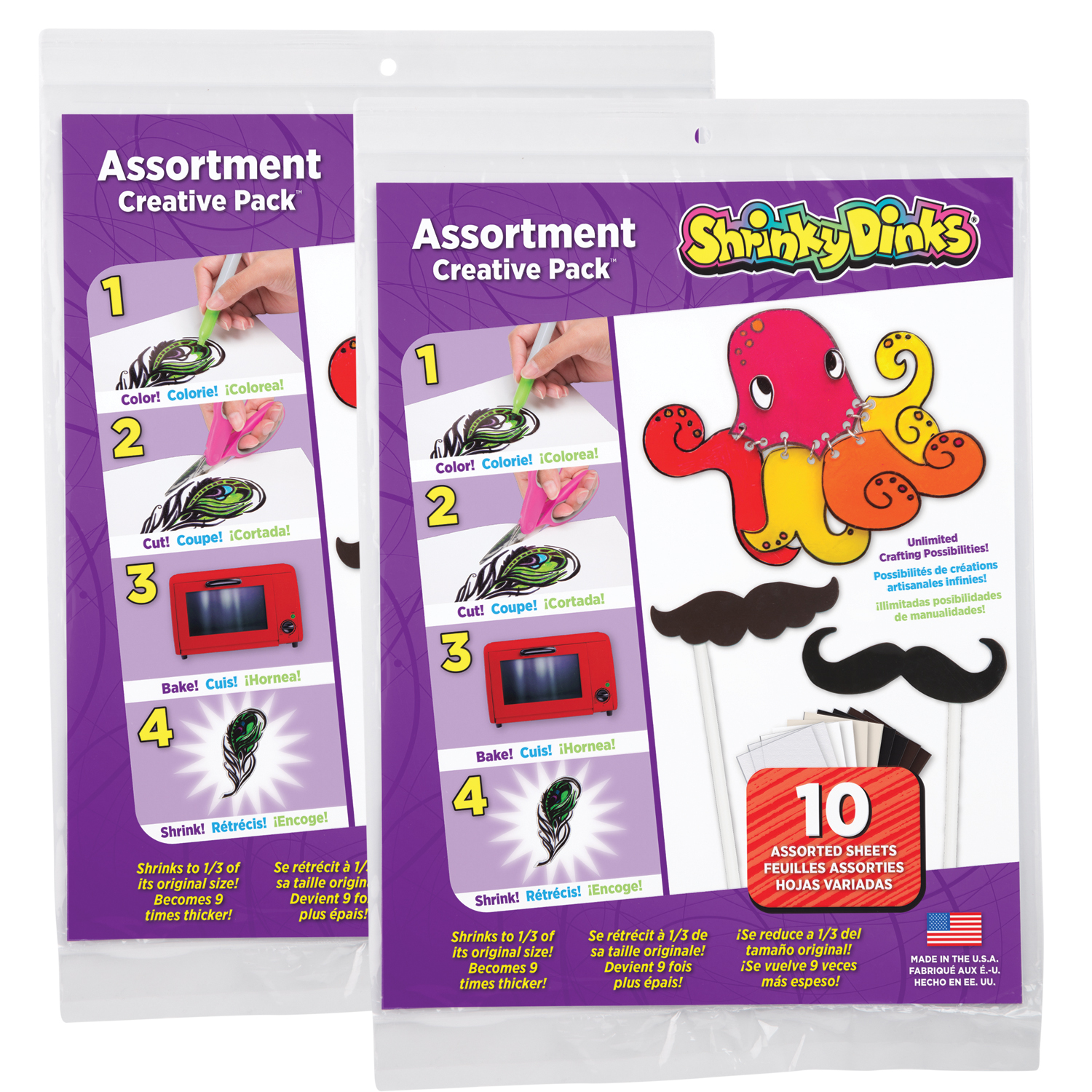 Alex Brands 0SD1258 & 2PK Shrinky Dinks Creative, Assortment Color - Pack of 2