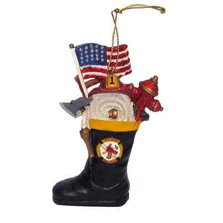 Holiday Ornaments FIREMAN BOOT Polyresin Flag Hose Cap J7145 for $<!---->