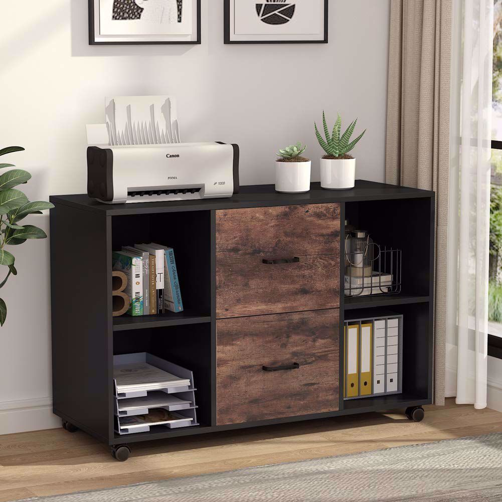 Tribesigns 2 Drawer Wood File Cabinet Letter Size, Large ...