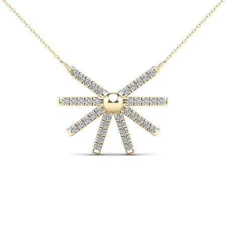 aaXia 10K Yellow Gold 1/10ct TDW Diamond Sunburst Necklace