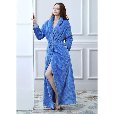 c9e6a234f4 AMONIDA Fleece Bathrobe for Women Long Robes Soft Pajamas