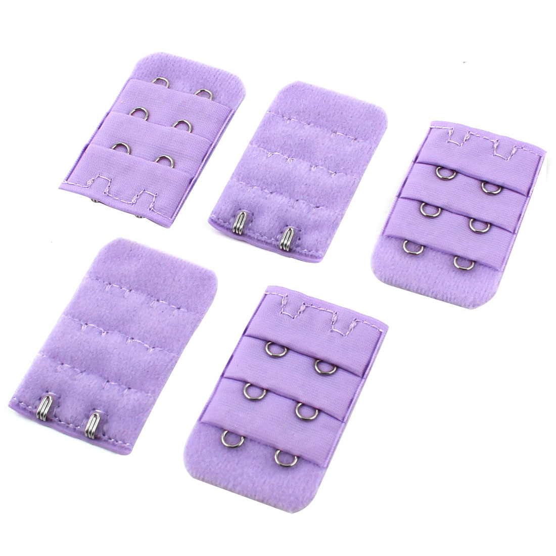 5PCS 2 x 3 Hooks Adjustable Buckle Brassiere Bra Strap Extending Hook Purple