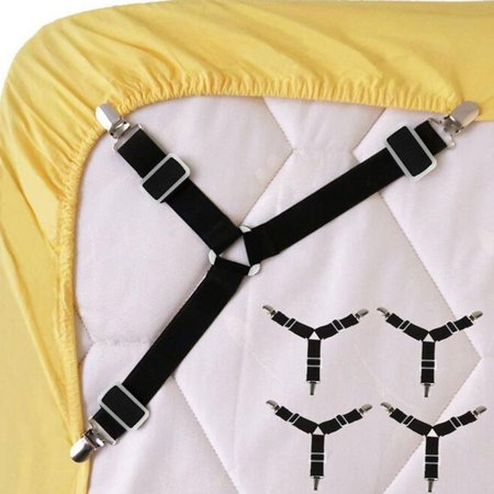 VENSE 4PCS Adjustable Triangular Bed Mattress Sheet Metal Clips Grippers Straps Table Cloth Fasten Suspender Fastener Holder, Black - image 6 of 8
