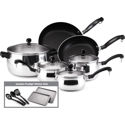 Farberware 15-Piece Classic Cookware Set, Stainless Steel ...