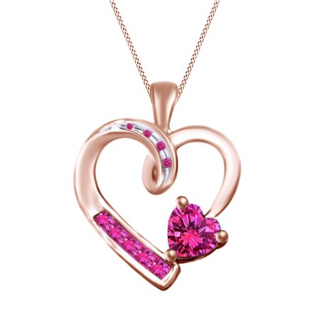 0.77 Carat Simulated Pink sapphire Heart Pendant Necklace 14k Rose Gold Over Sterling Silver