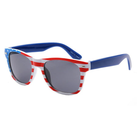 Kids Children's American Flag Sunglasses Junior USA US United States 80 AGE 4-12, Red White and Blue ()