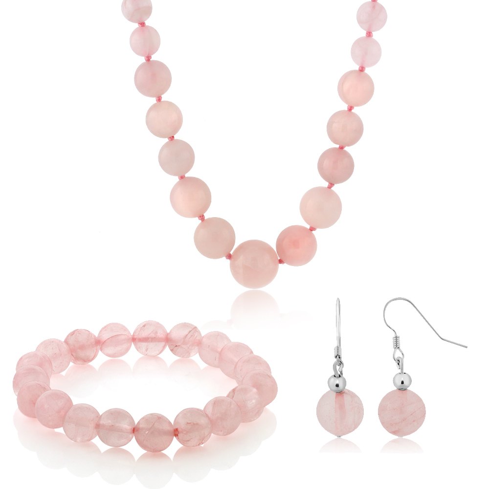 10MM Rose Quartz Round Bead Necklace Bracelet and Earrings Set 20 Inch