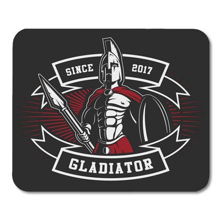 SIDONKU Black Spartan Gladiator Spear and Shield Text is Separate Mousepad Mouse Pad Mouse Mat 9x10 inch