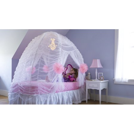 Fairy-Tale Ruffled Bed Tent for Kids Room, White - Fairy Tale Tent
