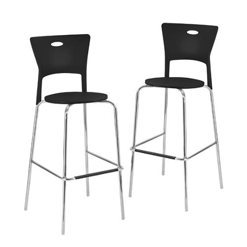 Lumisource Black Stackable Modern Bar Stools (Pack of 2) by Overstock
