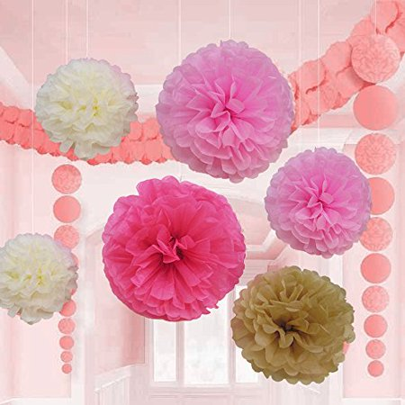 18 Pcs Pink Ivory And Beige Tissue Paper Flower Pom Pom Balls.8 10 And 14 Inch Party Favor Flower Balls Hanging Decor Party Decoration.Great DIY Kit For Parties,Birthdays,Weddings,Bridal Showers Etc. - Easy Diy Paper Halloween Decorations
