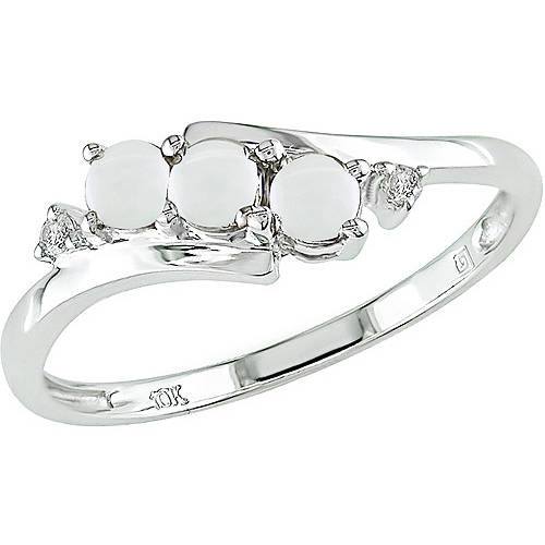 1/5 Carat T.G.W. Opal and Diamond-Accent 10kt White Gold Three Stone Ring