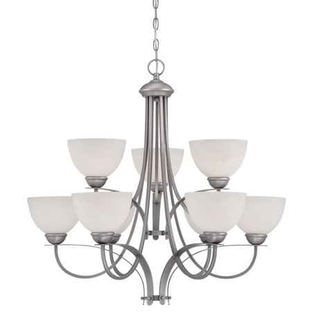 Millennium Lighting 1939 Brushed Pewter Belmont 9 Light 2 Tier Shaded Chandelier