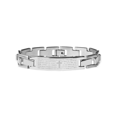 Prayer Bracelets (Stainless Steel Men's Lord's Prayer ID Bracelet 8.5)