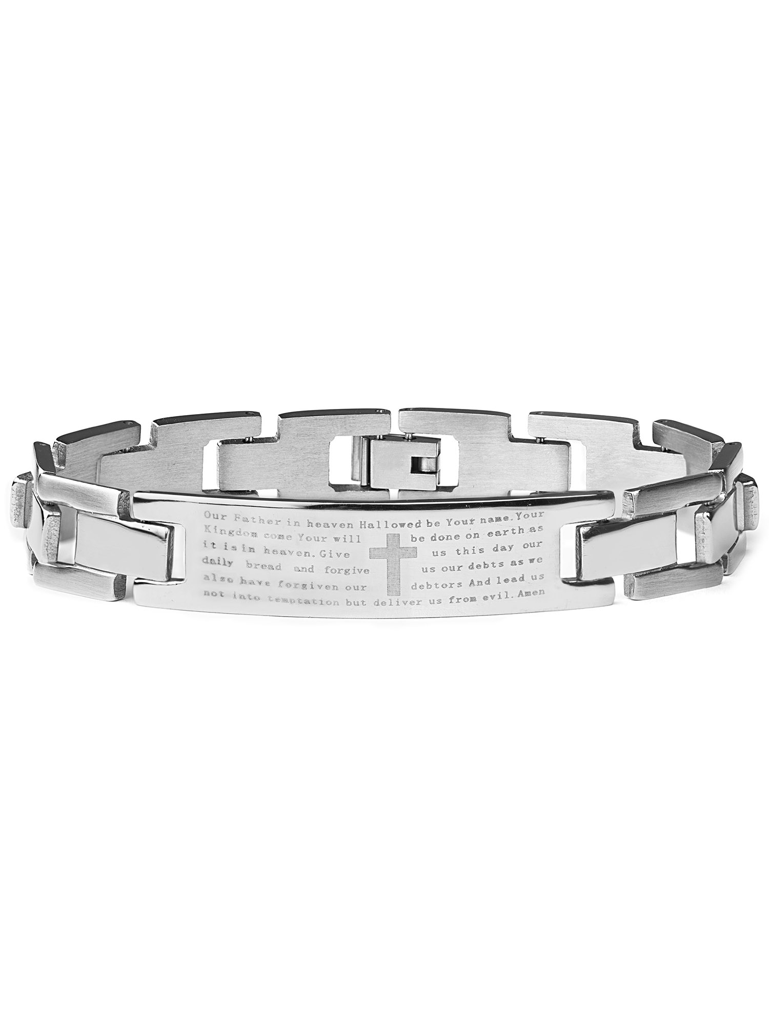 Stainless Steel Men's Lord's Prayer ID Bracelet 8.5 Inches