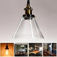 GHP Transparent Round Triangle 40W E27 Bulb Glass Lamp 18.5cm Pendant Ceiling Light