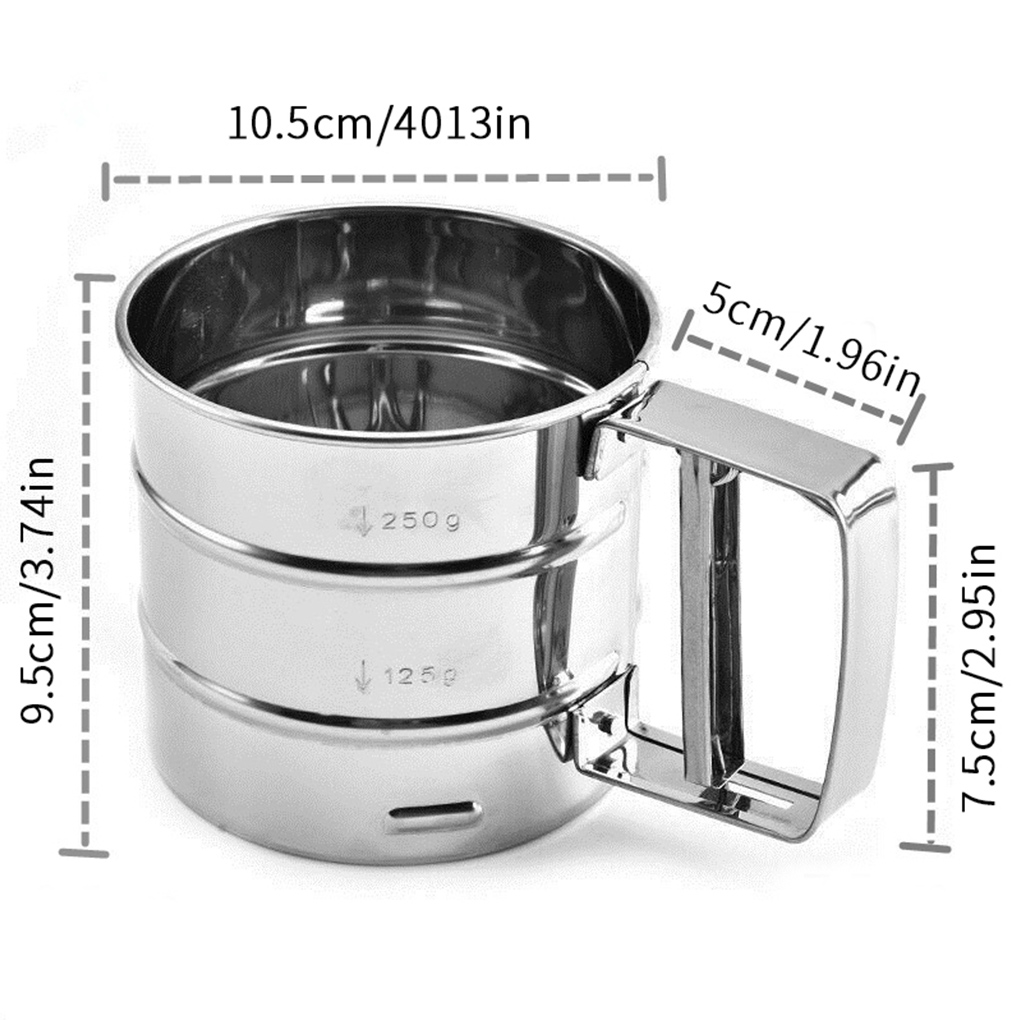 Wire Agitator,Cup Flour Sifter Stainless Steel ZHER-LU Flour Sifter Baking Hand Crank Flour Icing Sugar Sifter