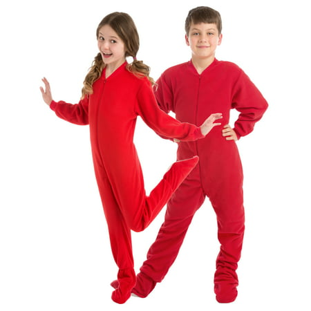 Big Feet PJs Big Boys Kids Red Fleece Footed Pajamas Sleeper (Superhero Pjs For Kids)