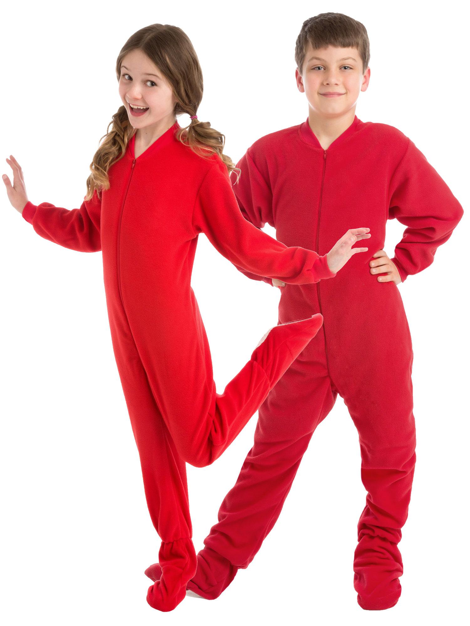 Big Feet PJs Big Boys Kids Red Fleece Footed Pajamas Sleeper