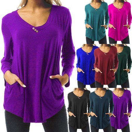 Women's Autumn Winter Long Sleeve Tops Solid Color V-neck Shirts with Pockets Ladies Fashion Front Button Pleated Blouses Loose Cotton T-shirts