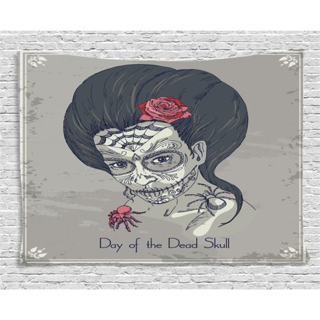 Day Of The Dead Decor (Day Of The Dead Decor Tapestry, Dia de Los Muertos Skull Girl with Roses Image Print, Wall Hanging for Bedroom Living Room Dorm Decor, 60W X 40L Inches, Charcoal Grey)