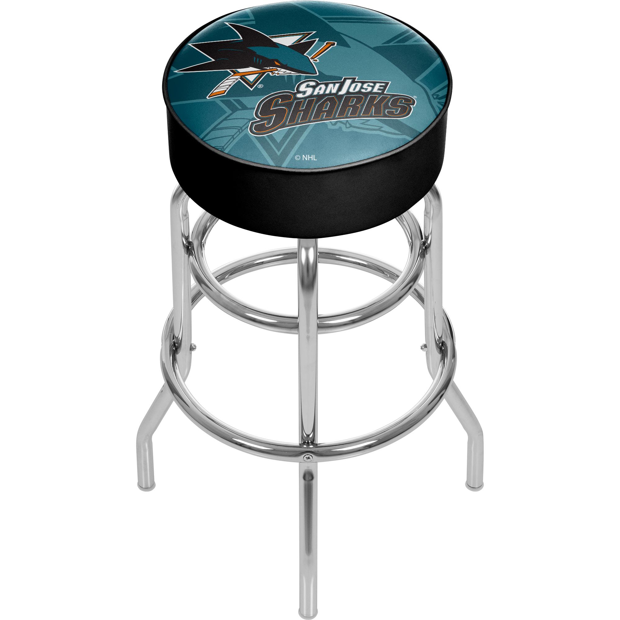 NHL Chrome Bar Stool with Swivel - Watermark - San Jose Sharks